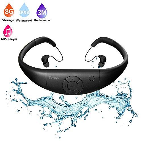Tayogo MP3Player wasserdicht Schwimmen mit Kopfhörer 8GB IPX8Hi-Fi Unterwasser 3m hitzebeständig 60℃ perfekt für Running Schwimmen Reitstiefel Spa und andere Sport mit Wasser oder Schweiß, Schwarz