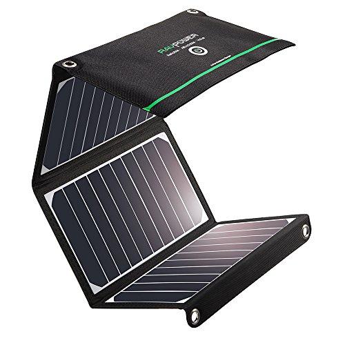 Solar Ladegerät, RAVPower 16W Solarladegerät Outdoor, 2 Port Solar Handy Ladegerät, Leicht, Faltbar, Wasserdicht, Kompatibel mit Allen Handys, iPad, Kamera, Tablet usw.