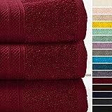Lumaland Premium 3er Set Badetücher Handtücher Frottee 70 x 140 c aus 100% Baumwolle 500 g/m² mit Aufhänger Kirsch