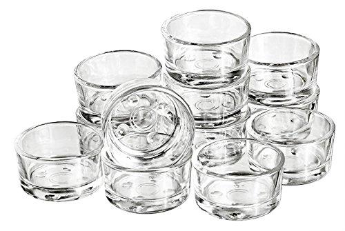 12 Teelicht-Gläser Glas weiß klar ca. Ø 4,5cm Höhe 2,4cm Teelichthalter