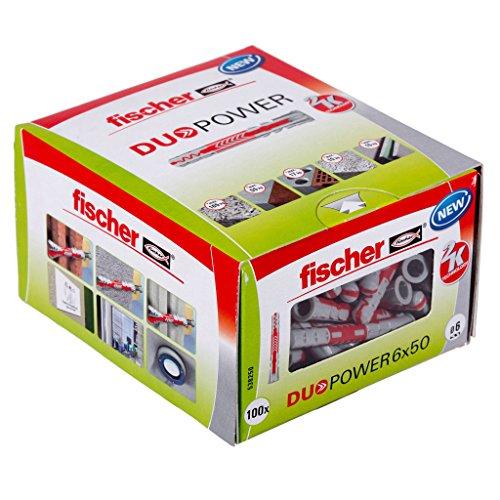 fischer DUOPOWER 6 x 50 - Universaldübel für eine Vielzahl von Baustoffen - Allzweckdübel für Leuchten, Bewegungsmelder, Hausnummern, Duschvorhangstangen uvm. - 100 Stück - Art.-Nr. 538250
