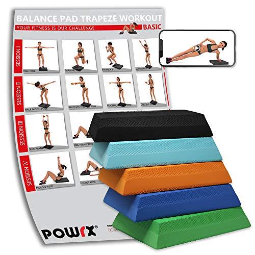 POWRX Balance Pad Deluxe Trapez inkl. Workout I Ganzkörpertraining gelenkschonend für Gleichgewicht Stabilität Koordination I Hautfreundliches TPE I Versch. Farben Schwarz