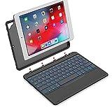 Yoozon 9,7' iPad Bluetooth Tastatur Hülle für 9.7' Apple iPad 2017(5. Gen)/2018(6. Gen), iPad Air 1, mit 7 Hintergrundbeleuchtungen, abnehmbare Schutzhülle, deutsches QWERTZ Layout Keyboard