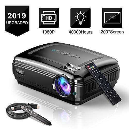 Beamer mit Presenter 3500LM 5.8' LCD 200 Zoll Full HD Video Projektoren HDMI USB VGA SD Card AV für Office Powerpoint Präsentationen Heimkino Unterstützt 1080P Schwarz