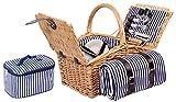 4 Personen Weiden Picknickkorb Picknickkoffer Set mit Decke, Besteck, Wein Gläser, Teller (Braun)