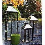 Mojawo Traumhaftes 3er Set Luxus XXL Gartenlaterne Edelstahl Windlicht Laternen Set Höhe 24/40/53cm
