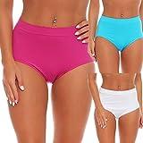 E&F Fashion 3er Pack Damen-Slips Unterhosen Taillenslip Formslip Panty 603 (M/L, Weiß/Fuchsia/Hellblau)