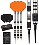 RED DRAGON Amberjack 1 Soft Tip Dartpfeile 18g – 90% Tungsten Darts (Steel Dartpfeile) mit Flights, Schäfte, Brieftasche & RED DRAGON Checkout Card