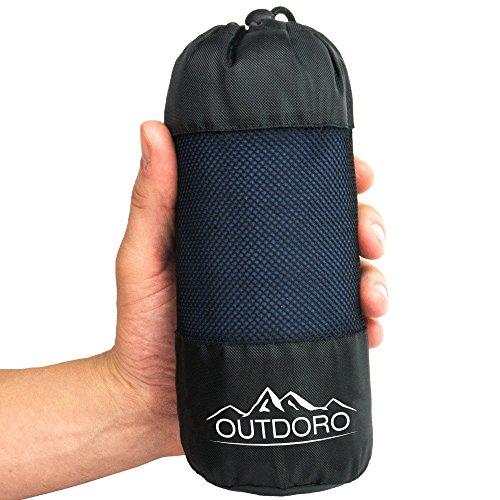 Outdoro Hüttenschlafsack, ultra-leichter Reise-Schlafsack - nur 350 g aus reiner Baumwolle mit Kissen-Fach - dünn, klein, kompakt - Inlett, Inlay, Outdoor Travel-Sheet für Erwachsene, Kinder, Sommer