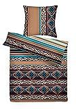 Carpe Sonno kuschelige Biber Bettwäsche 135 x 200 cm orientalisch bunt - Winterbettwäsche mit Reißverschluss aus 100% Baumwolle Flanell - 2-TLG Bettwäsche Set mit Kopfkissen-Bezug