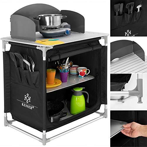 Kesser Campingschrank, Campingküche mit Aluminiumgestell, Spritzschutz und Tragetasche Kocherschrank für Camping, Campingmöbel, Outdoor, schwarz/grau Typ F2