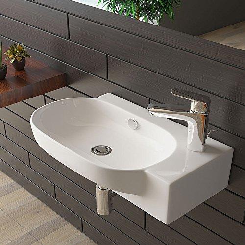 Handwaschbecken mit Überlauf Waschtisch Weiß Keramik Waschbecken Badezimmer
