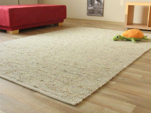 Landshut Handweb Teppich aus 100 % Schurwolle - natur, Größe: 130x190 cm