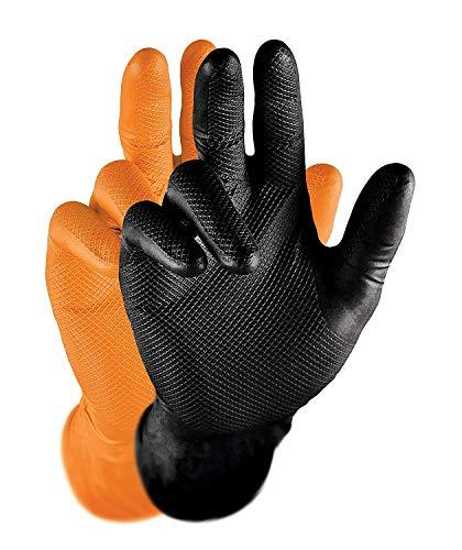 Grippaz Work-Inn Nitril-Handschuhe Schwarz (50 Stück) | Größe XL | latexfreie Arbeitshandschuhe extrem robust & rutschfest | ohne Puder patentierte Schuppenprägung | Einweghandschuhe + puderfrei