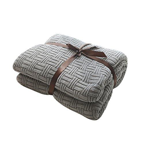 MYLUNE HOME 100% Baumwolle Luxus Stilvolle Strickdecke für Fernsehen oder Nap auf dem Stuhl, Sofa und Bet(180x200cm,Gray)