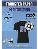 PPD DIN A4 Inkjet Transferpapier Transferfolie Bügelfolie für dunkle Textilien DIN A4 x 5 Blatt PPD-4-5