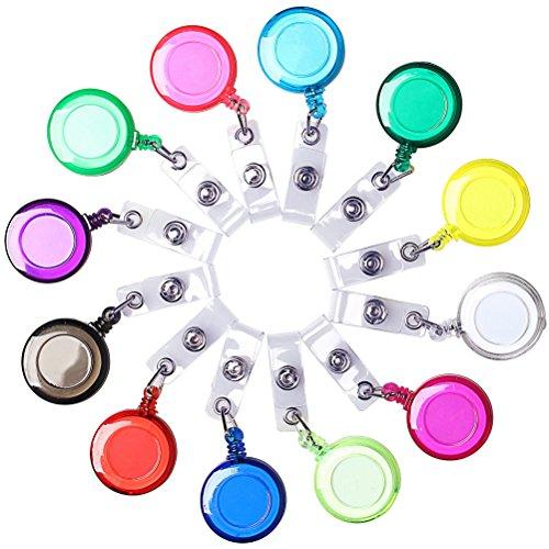 12 Stück transluzente einziehbare Kartenhalter, Borte einstellbare transluzente einziehbare Kartenhalter Schlüsselrollen Badge Holder Reel mit Gürtelclip für Schlüsselring und ID-Karten gemischte Farben