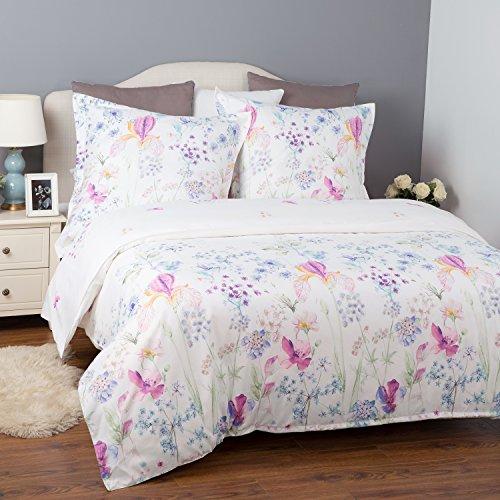 Bettwäsche Blumen 200x200cm Übergröße Weiß Bettbezug mit Blumenmuster, 3-teilig Bettwäsche Set (1 Bettbezug mit Reißverschluss & Eckbändchen + 2 Kissenbezüge 80x80cm), Super Weiche Atmungsaktive Hypoallergen Mikrofaser Bettwäsche Garnitur von Bedsure