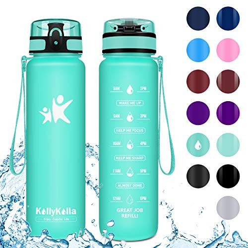 KollyKolla Trinkflasche - BPA-frei Auslaufsicher Sport Wasserflasche, 800ml Tritan Sportflasche Kohlensäure Geeignet Kunststoff mit Filter für Kinder, Schule, Baby, Fahrrad, Gym, Matt Smaragd