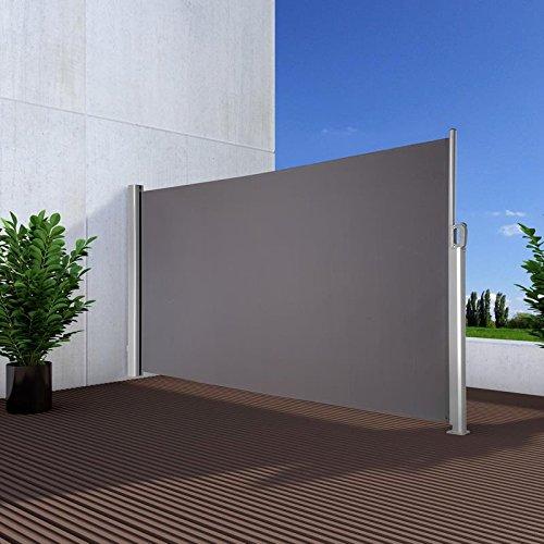 Noor Seitenmarkise Exklusiv 180x350 cm anthrazit Sichtschutz Terrasse Balkon Sonnenschutz Windschutz
