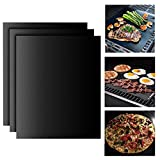 BBQ Grillmatte Backpapier (3er Set) Teflon Antihaft zum Grillen und Backen,Barbecue Grill Matte Backmatte Wiederverwendbar für Holzkohlegrill, elektronischen Grill, Backofen, Dampf-Backofen,Mikrowelle