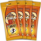 BIC 3 Sensitive Einwegrasierer für Herren, 4 Packungen mit 4 Stück