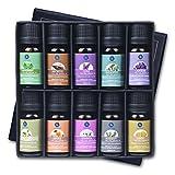 Lagunamoon Ätherische Öle, Atherische Öle für Diffuser Set 100% Pure Essential Oils, Duftöl für therapeutische Aromatherapie Diffuser Lufterfrischer, Ätherische Duftöle von Pfefferminze, Zitrone, Rosmarin, Orange, Eukalyptus, Lavendel, Gewürznelke, Ylang Ylang, Patchouli, Geranie