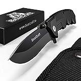 BearCraft Klappmesser in Mattschwarz | Scharfes Outdoor Survival Taschenmesser | Kleines Einhand-Messer mit Edelstahlklinge und Aluminiumgehäuse | Einsetzbar für Arbeit Wandern Camping