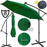 Kesser Alu Ampelschirm LED Solar  Ø350cm + Abdeckung  mit Kurbelvorrichtung  UV-Schutz  Aluminium  mit An-/Ausschalter  Wasserabweisend - Sonnenschirm Schirm Gartenschirm Marktschirm Grün