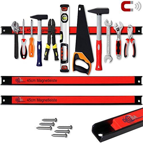 Deuba Magnetleiste Set 3er 45cm 23kg Tragkraft Modellauswahl Montagematerial Werkzeugleisten Messerleisten mit Modellauswahl Magnetleisten für Werkzeug