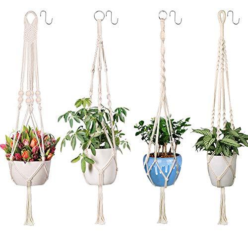 Emooqi Makramee Blumenampel, Baumwollseil Hängeampel Blumentopf Robust Makramee Pflanzenhalter Blumenampel|4 Beine 41 inch|Handgewebt|Pflanzenhänger für Balkon Gartendekor (4er