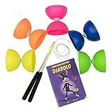 Diabolo-Set mit Comet Diabolo und Henrys Ersatzschnur I Einsteiger-Set - Made in Italy (neon-pink)