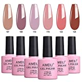 AIMEILI UV LED Gellack mehrfarbig ablösbarer Gel Nagellack Set Gel Nail Polish Kit - 6 x 10ml - Set Nummer 30