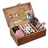 isoto Holz Nähkorb mit Nähset Zubehör Vintage Organisieren Box für Mon Oma Mädchen Frauen Hobby Haushalt
