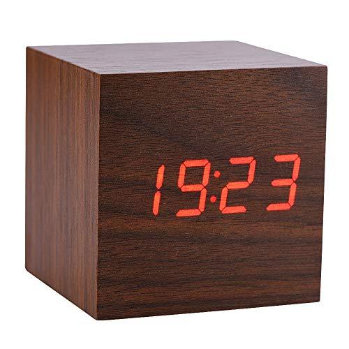 LED Digital Wecker, hölzerne Uhr für Schlafzimmer Moderne hölzerne Würfel Uhr 3 Niveaus Helligkeits Temperatur Anzeige mit Sprachsteuerung(Braun)