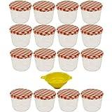 Viva Haushaltswaren - 16 x kleines Marmeladenglas / Einmachglas 230 ml mit Deckel, Twist-off Gläser Set rund - als Einweckgläser, Vorratsdosen etc. verwendbar (inkl. Trichter)