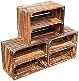flambierte/geflammte Massive Obstkisten ALS Regal mit Zwischenbrett/Mittelbrett Einlage ca. 50 x 40 x 30cm / Apfelkisten Weinkisten Holzkisten aus dem Alten Land (3er Set)