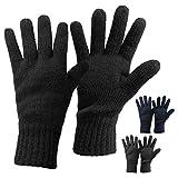 Alpidex Thermo Strickhandschuhe DARK SHEEP mit Thinsulate für Damen und Herren Unisex Thinsulate Füllung Fingerhandschuhe für Erwachsene Größen S bis L, Größe:M, Farbe:black