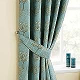 Homescapes Gardinen Raffhalter 2 Stück Blaugrün Ergänzend zu Fertiggardinen Set Gesticktes Baum Motiv Jacquard Vorhang