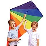 Lesonic Einleiner Drachen für Kinder und Erwachsene - Drachenflieger Flugdrachen, Drachen steigen Spiele mit 50m starke Drachenschnur und Spule, Robust Nylon Kinderdrachen mit Fiberglas Stäben