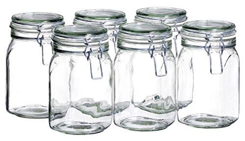 Domestic by Mäser, Serie Gothika, Einmachglas 1.05 Liter, Vorratsgläser mit Bügelverschluss, im 6er-Set