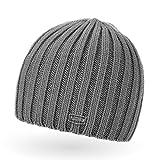 Neverless Coole Strickmütze für Herren, Winter-Mütze, Navik grau, unisize