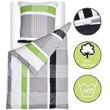 Beautissu Bettwäsche 135x200 cm Dana - gestreift mit Reißverschluss 100% Baumwolle - Bettbezug mit 80x80 cm Kissenbezug