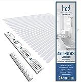 HYGGENDAHL 24x Anti-Rutsch Streifen für Dusche Whirlpool Badewanne | Selbstklebender Rutschschutz Transparent | Klebestreifen mit Positionier-Schablone