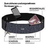 Formbelt plus Sport-Bauchtasche mit Reißverschluss, Laufgürtel für Handy Smartphone, elastische Lauftasche Iphone 8 8 plus X 7 plus + Samsung Galaxy S-7 S8 plus Reise-Hüfttasche (grau, L)