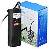 OMORC Aquarien Filter Multifunktionaler Aquarienfilter Aquarium Innenfilter mit 2 Filterschwämmen Austauschbar für 60L Aquarium oder Schildkröte Tank -Einstellbarer Durchfluss & Superleiser Betrieb