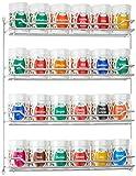 Fuchs 24er Gewürzregal gefüllt, robustes silber verchromtes Kräuterregal mit 24 Dosen auf vier Ebenen (für die Wand oder den Innenschrank zum Hängen)