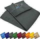 Fit-Flip 3-TLG Fitness-Handtuch Set mit Reißverschluss Fach + Magnetclip + extra Sporthandtuch | zum Patent angemeldetes Multifunktionshandtuch, Microfaser Handtuch (dunkelgrau)