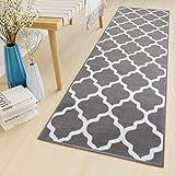 Tapiso Luxury Läufer Teppich Flur Korridor Kurzflor Brücke Modern Grau Weiss Geometrisch Marokkanisch Gitter Muster ÖKOTEX 70 x 180 cm