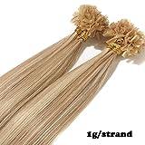 Extensions Echthaar Bondings 1g 100% Remy Echthaar Haarverlängerung Keratin Bonding 50 Strähnen 50cm (#18/613 hellgoldblond/hell-Lichtblond)